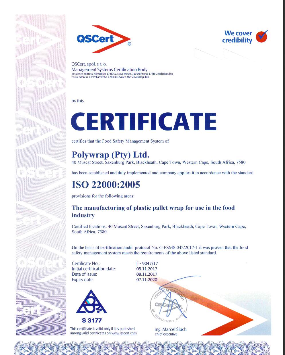 ISO 22000 Certificate_Polywrap (Pty) Ltd